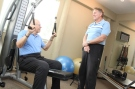 Ken Blanchard and fitness trainer Tim Kearin during a workout along the journey to become fit at last.
